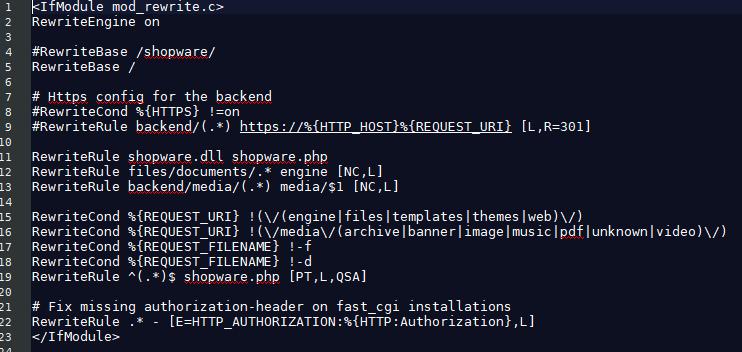 Speichert Man Diese Geanderte Datei Unter Dem Exakt Gleichen Dateinamen Htaccess Wieder Auf Server Dann Lauft Shopware Wie Gewunscht