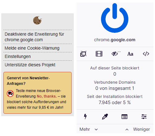 uBlock Origin und I don't care about cookies